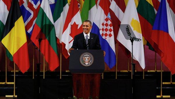 Барак Обама выступает в бельгийском дворце изящных искусств BOZAR 26 марта 2014