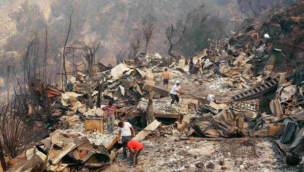 Последствия пожаров в городе Вальпараисо, Чили