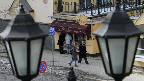 Вид с Бастионной горки на улицу Торня в Риге. Латвия. Архивное фото