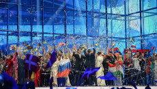 Артисты после выступлений в полуфинале 59-го международного конкурса песни Евровидение-2014 в Копенгагене