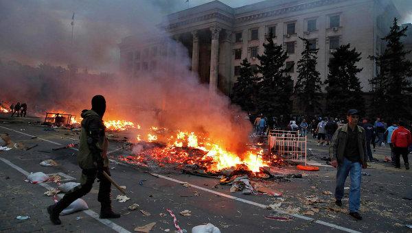 Участник столкновений возле Дома профсоюзов в Одессе, Украина