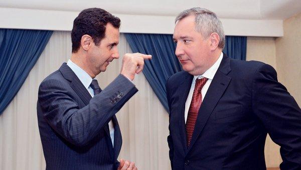 Заместитель председателя правительствап России Дмитрий Рогозин во время встречи с президентом Сирии Башаром Асадом в Дамаске
