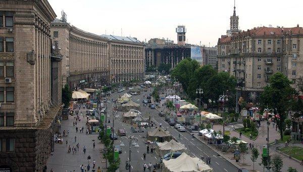 Палаточный лагерь на улице Крещатик в Киеве. Архивное фото