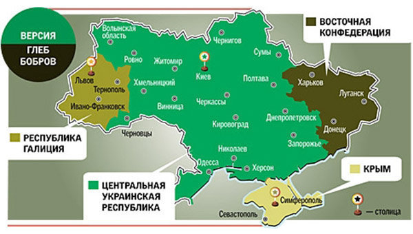 Карта Украины по версии писателя Глеба Боброва