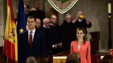 Испанский Принц Фелипе и принцесса Летиция в монастыре Сан-Сальвадор-де-Лейре на севере Испании
