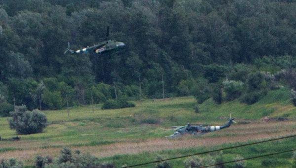 Поврежденный в ходе боя под Славянском вертолет ВВС Украины, архивное фото