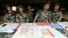 Китайские военнослужащие на совместном российско-китайском антитеррористическом учении