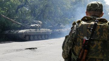 Боец народного ополчения в Донецкой области