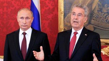 Президент РФ Владимир Путин и президент Австрии Хайнц Фишер во время официальных переговоров в Австрии 24 июня 2014
