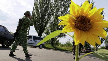 Боец народного ополчения в Краматорске