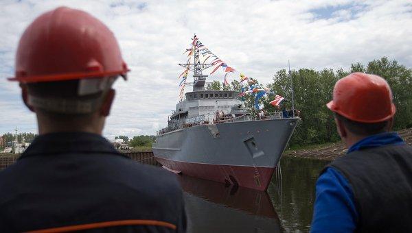 Спуск на воду головного противоминного корабля Александр Обухов. Архивное фото