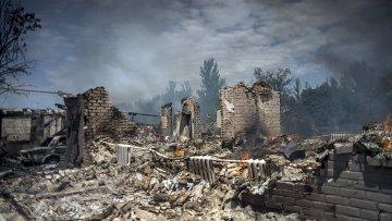 Дом, разрушенный во время авиационного удара вооруженных сил Украины по станице Луганская. Архивное фото