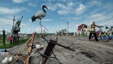 Село под Славянском после боев украинской армии с ополченцами