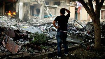 Последствия авиаударов израильской армии в Секторе Газа