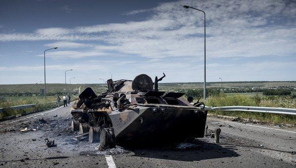 Сожженная бронетехника украинской армии. Архивное фото