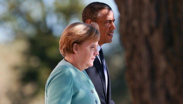 Федеральный канцлер Германии Ангела Меркель и Президент Соединенных Штатов Америки (США) Барак Обама.Архивное фото