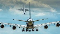 Пассажирские самолеты Airbus А350 и Airbus А380 на авиационно-космическом салоне Фарнборо-2014