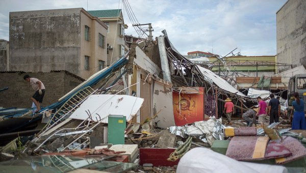 Последствия тайфуна Раммасун в Китае 21 июля 2014 года. Архивное фото