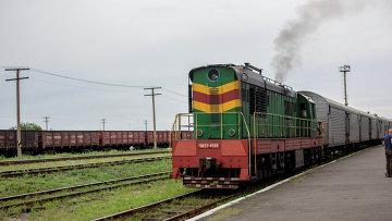 Поезд с рефрижераторными вагонами с телами погибших в авиакатастрофе малайзийского Boeing 777