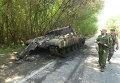 Подбитый ополченцами танк украинской армии на окраине Донецка