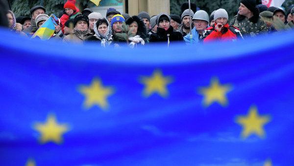 Флаг Евросоюза. Киев. Архивное фото