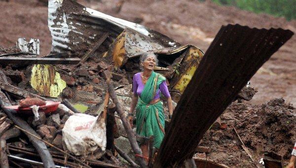 Последствия оползня в Индии