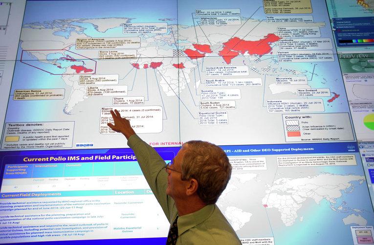 Карта в  Национальном центре Emerging по контролю и профилактике заболеваний