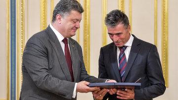 П.Порошенко встретился с генеральным секретарем НАТО Расмуссеном
