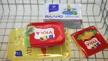 Продукция Валио на прилавке в магазине. Архивное фото