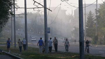Жители Донецка после обстрела города украинскими военными