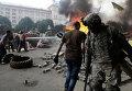 Уборка баррикад на Майдане в Киеве