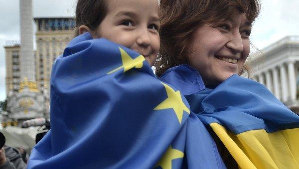 Флешмоб в честь вступления Украины в ЕС. Архивное фото