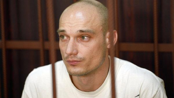 Обвиняемый по факту осквернения высотного здания на Котельнической набережной Александр Погребов в зале Таганского суда города Москвы во время рассмотрения ходатайства об аресте