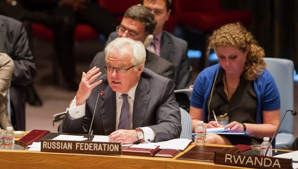 Постпред России при ООН Виталий Чуркин на заседании. 28 августа 2014