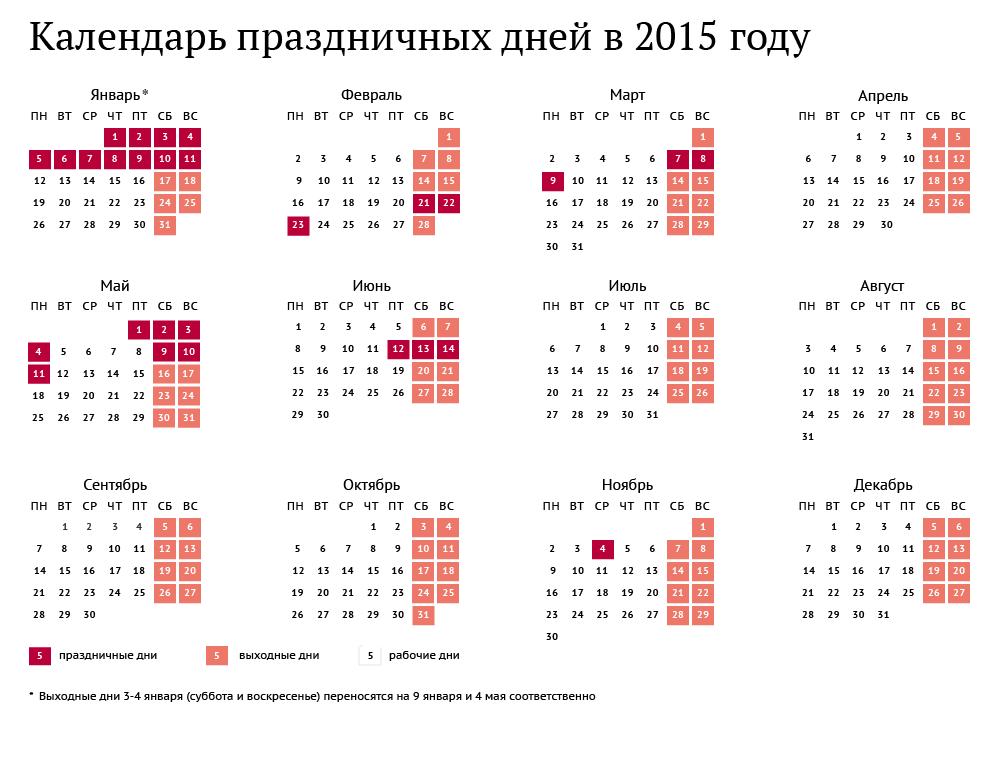 Календарь праздничных дней в 2015 году