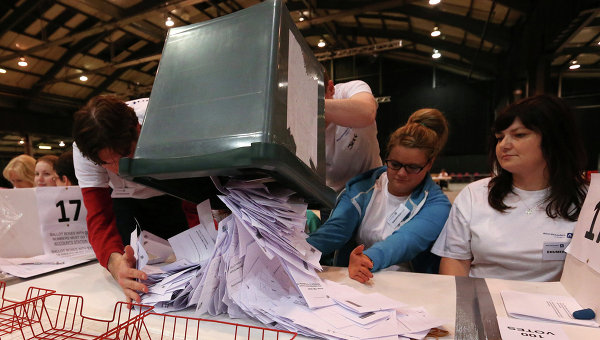 Подсчет голосов рефрендума о независимости Шотландии