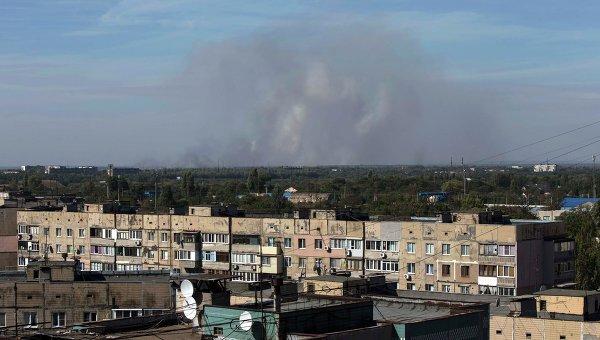 Последствия обстрела на окраине Донецка, 20 сентября 2014 года