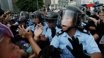 Полиция во время митинга в Гонконге. Архивное фото