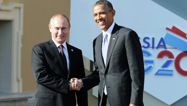Президент России Владимир Путин (слева) и президент Соединенных Штатов Америки (США) Барак Обама. Архивное фото
