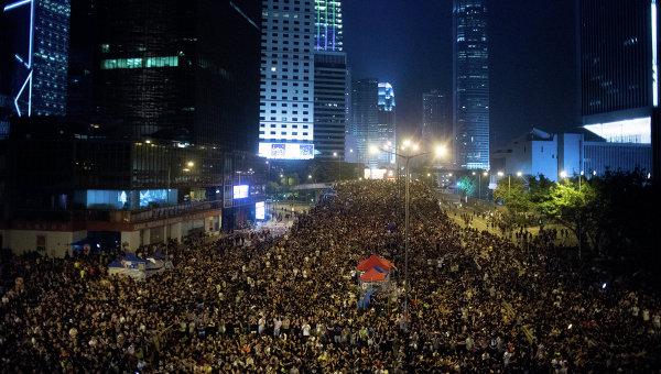 Сторонники протестного движения Occupy Central на митинге в районе Admiralty в Гонконге, Архивное фото