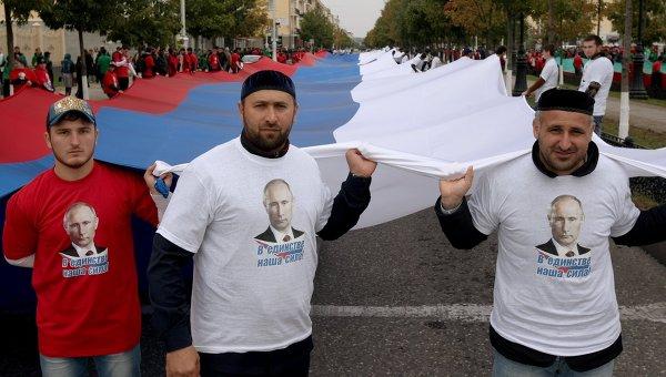 Акция живой флаг в Грозном
