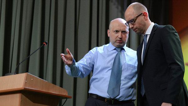 Премьер Украины А.Яценюк и  А.Турчинов. Архивное фото