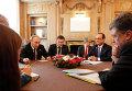 "Владимир Путин, Франсуа Олланд и Петр Порошенко на встрече в рамках форума ""Азия-Европа"" 17 октября 2014"