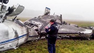 На месте крушения легкомоторного самолета Falcon в аэропорту Внуково