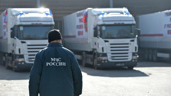 Сотрудник МЧС России у грузовиков с гуманитарной помощью. Архивное фото
