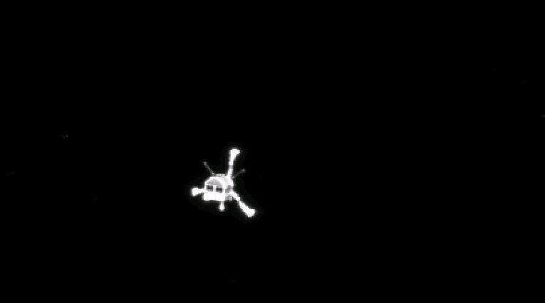 Фотография модуля Фил после его успешного отсоединения от космического аппарата Rosetta. 12 ноября 2014