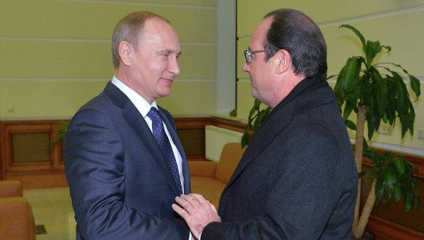 В.Путин встретился с Ф.Олландом. Архивное фото