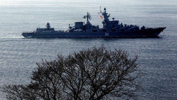 Гвардейский ракетный крейсер Варяг. Архивное фото