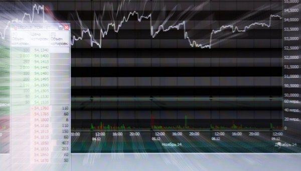 Экран в офисе Московской биржи. Архивное фото