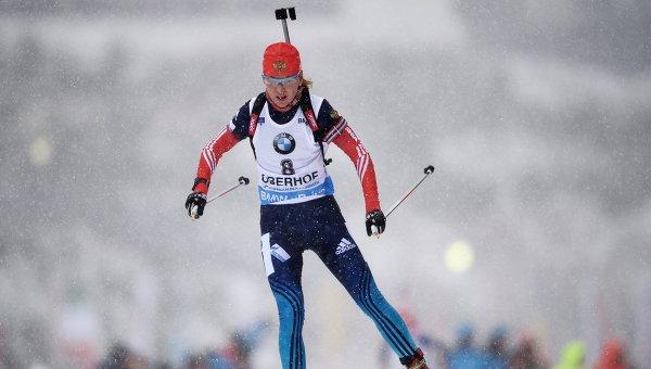 Екатерина Глазырина на трассе гонки с масс-старта в соревнованиях среди женщин четвертого этапа Кубка мира по биатлону 2014/15 в Оберхофе. Архивное фото